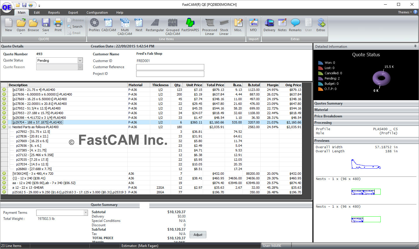 Quote Software Steel Quoting Software  Fastcam Qe